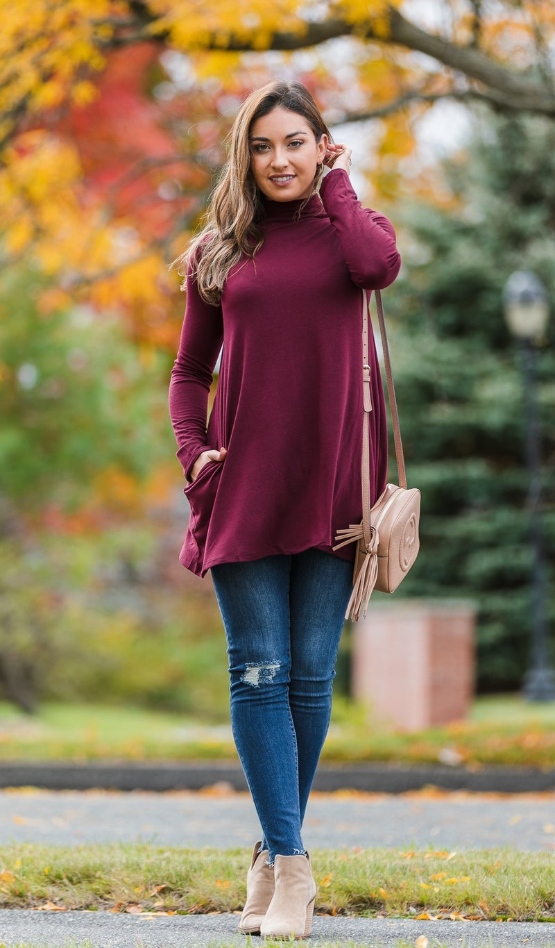 Downtown Tunic, Burgundy, Ivory or Black