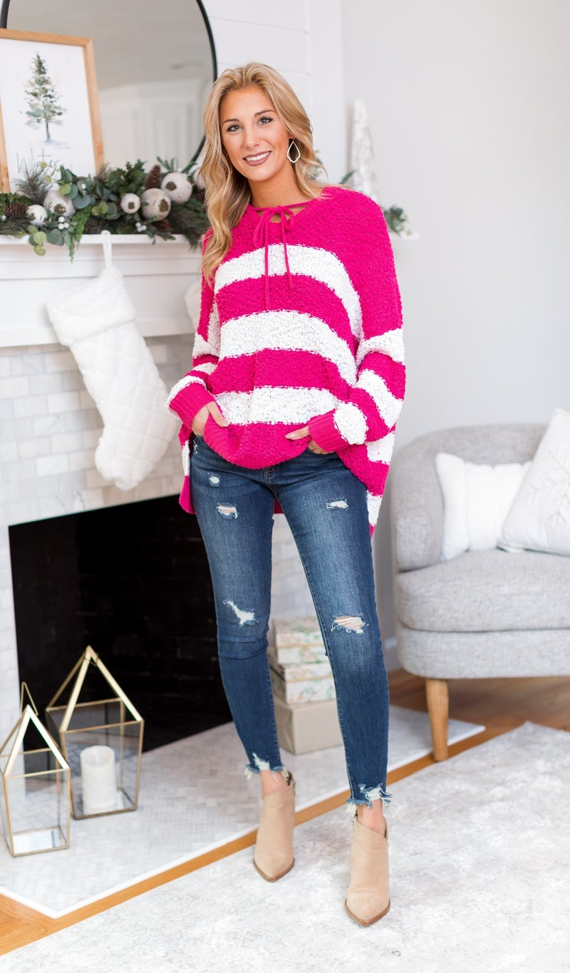 The Holly Sweater, Pink or Navy