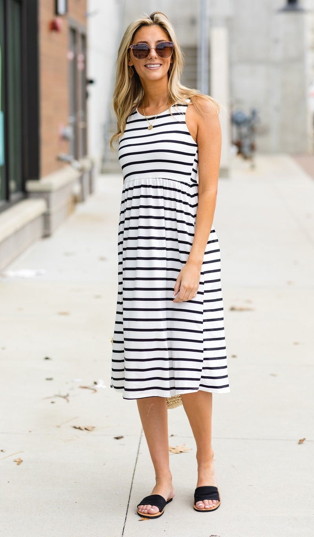 No Worries At All Dress, Black Stripe
