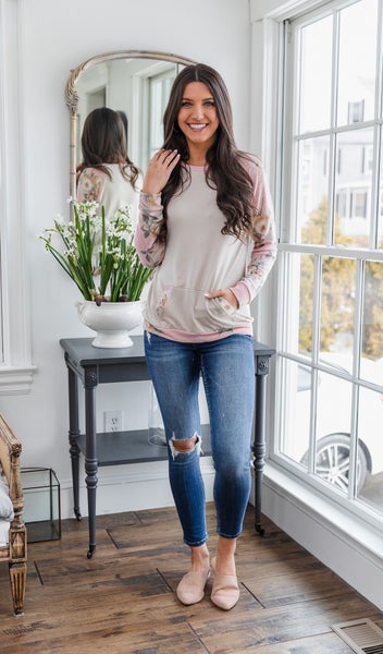 BFF Pullover, Oatmeal Pink Floral