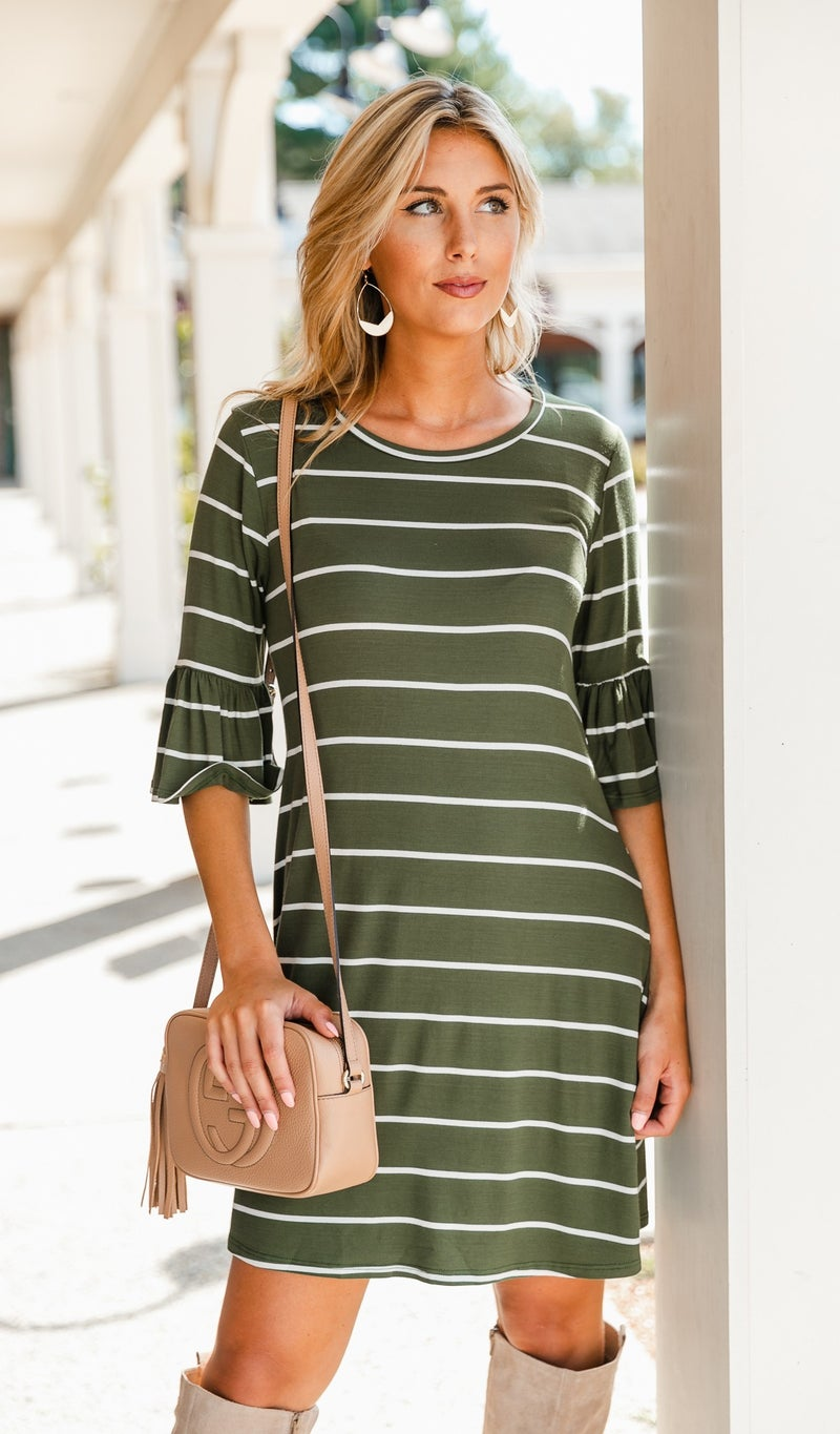 Swing Into Fall Dress, Olive or Burgundy