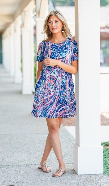 Summer Fun Paisley Print Dress, Blue