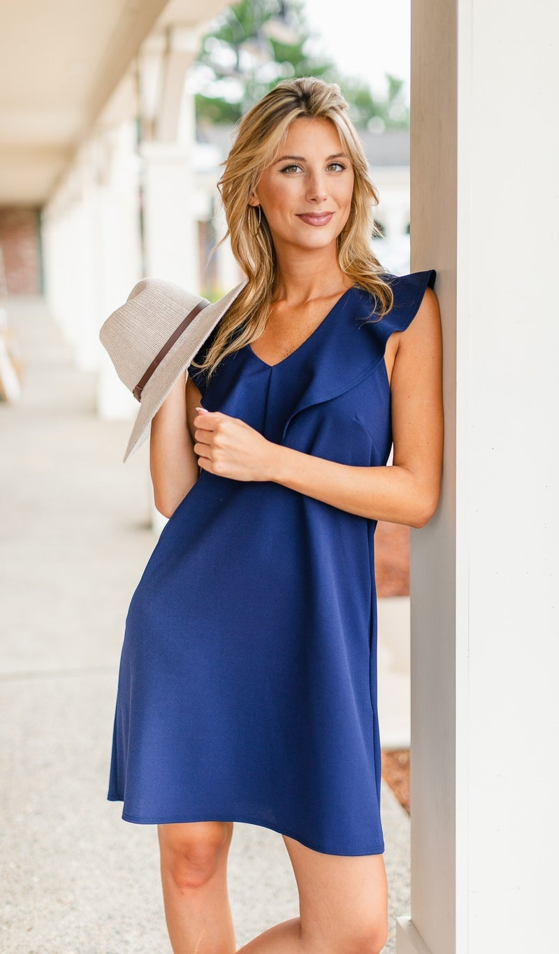 River Shift Dress, Navy