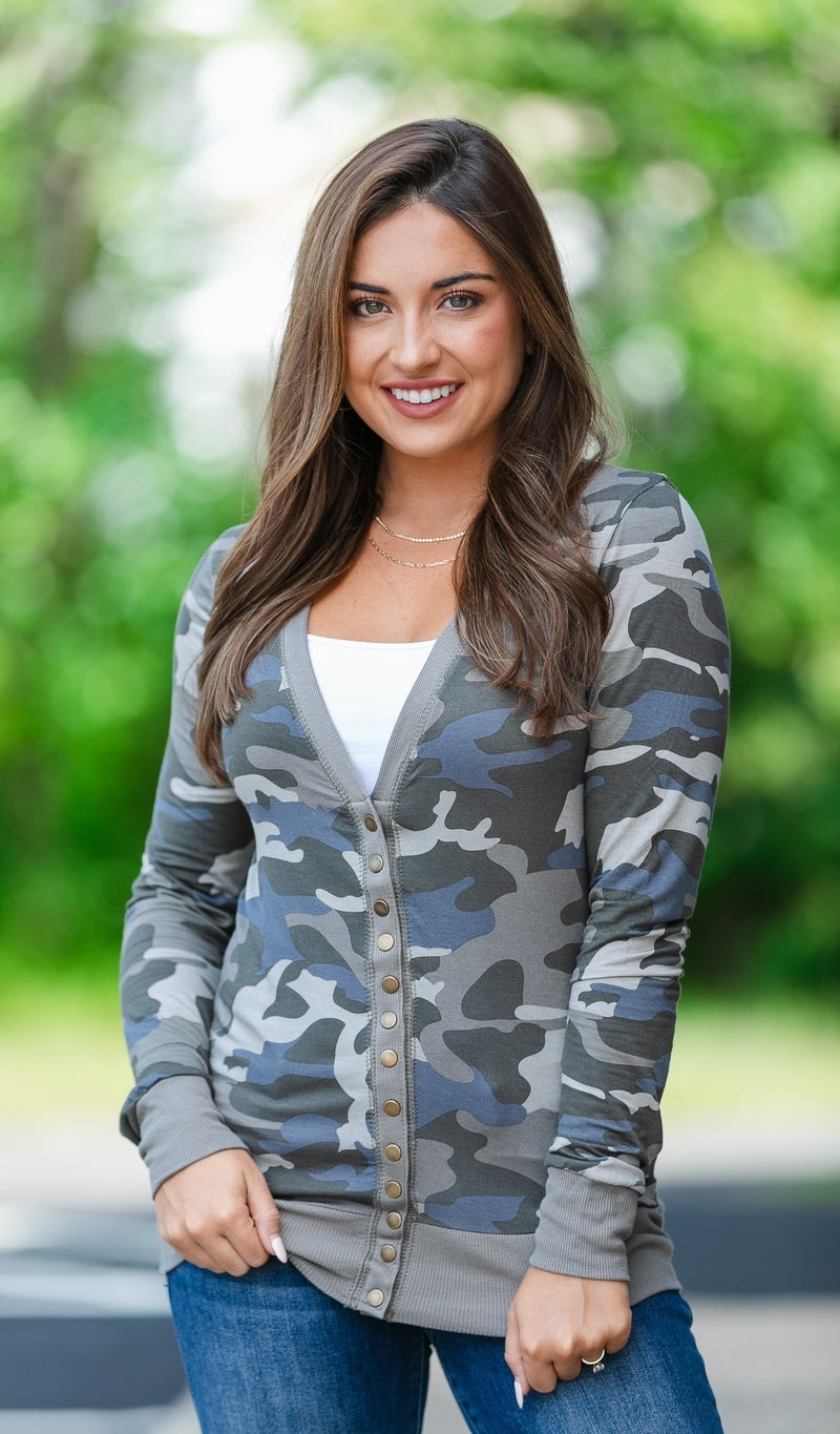 Above All Camo Snap Cardigan, Olive