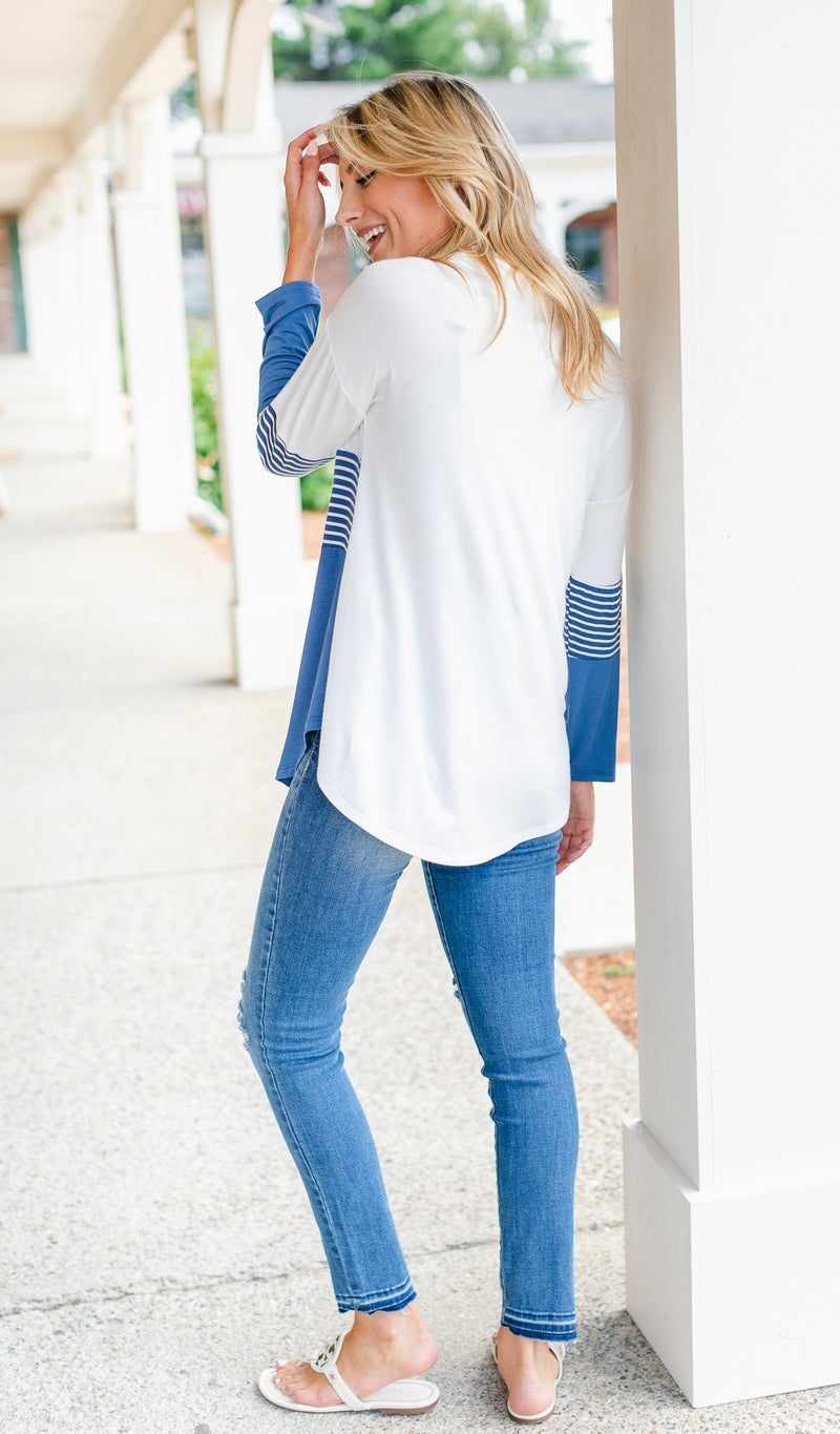 On My Mind Pullover. Blue and Ivory Stripe