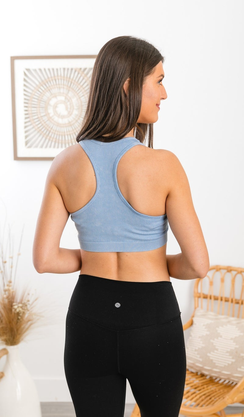 The Seamless Ribbed Sports Bra, Black, Blue, Or Pink *Final Sale*