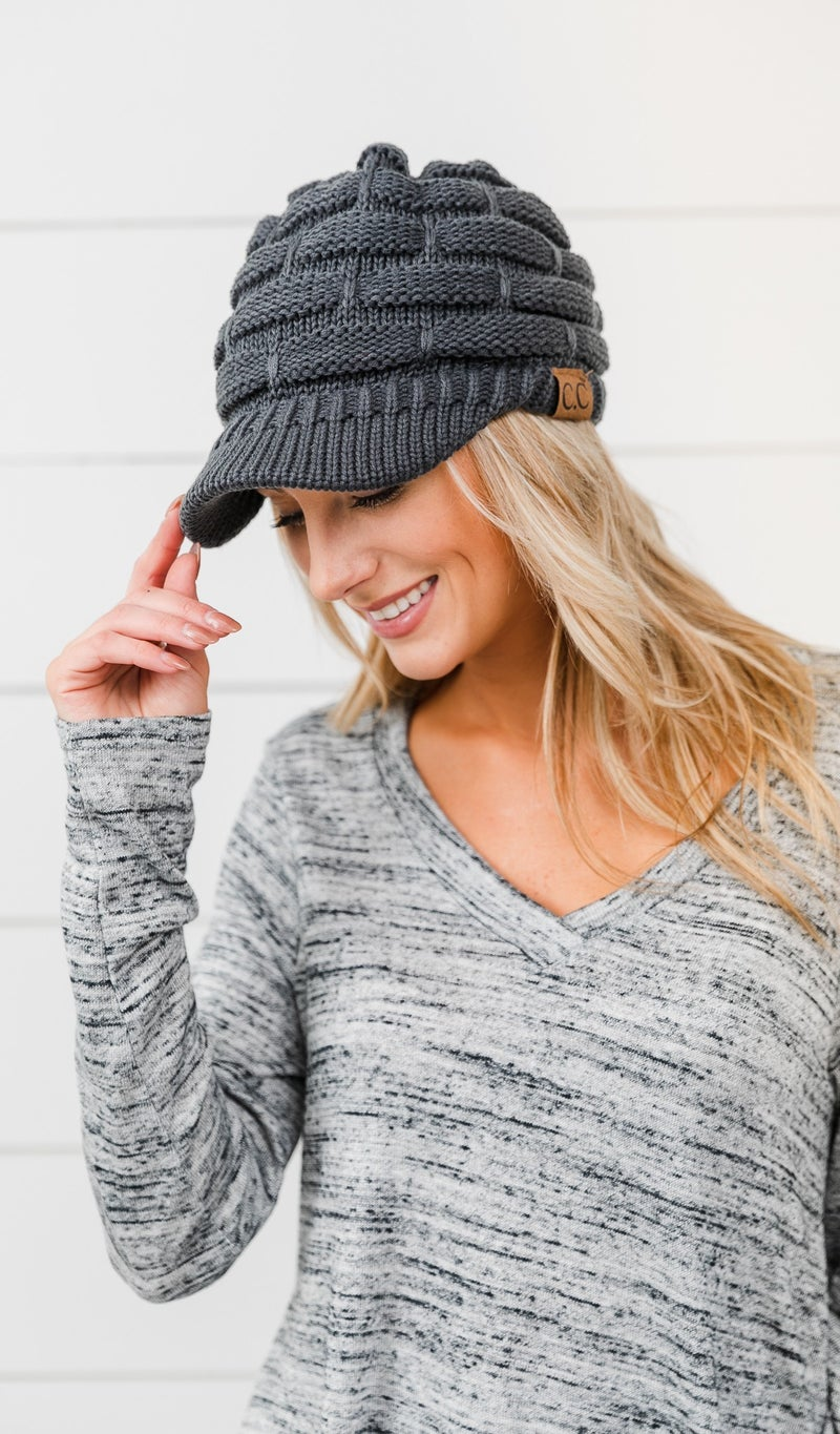 Time For Me knit Hat, Black Grey or Ivory