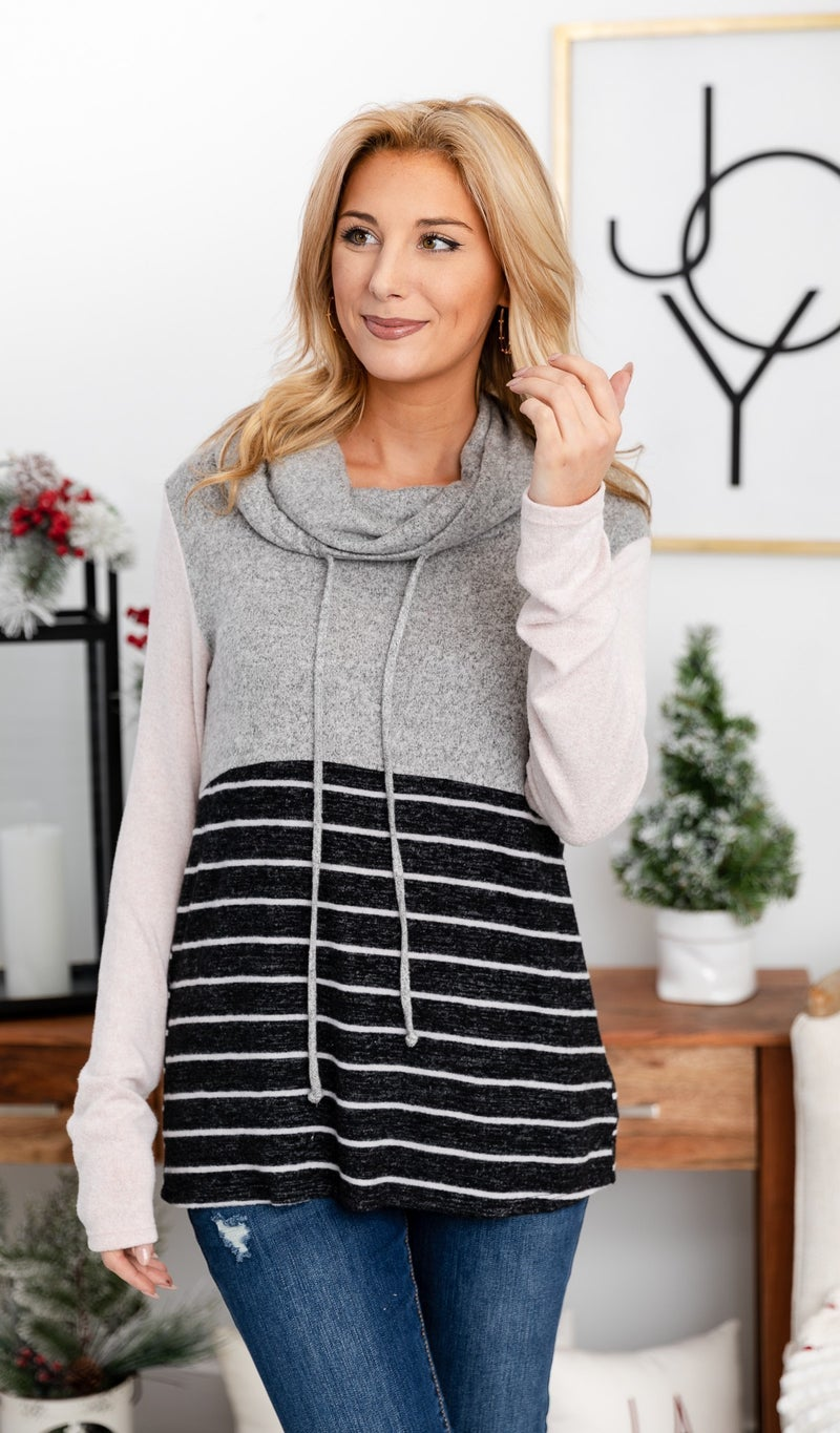 Macy Striped Cowl Neck Pullover, Grey/Blush