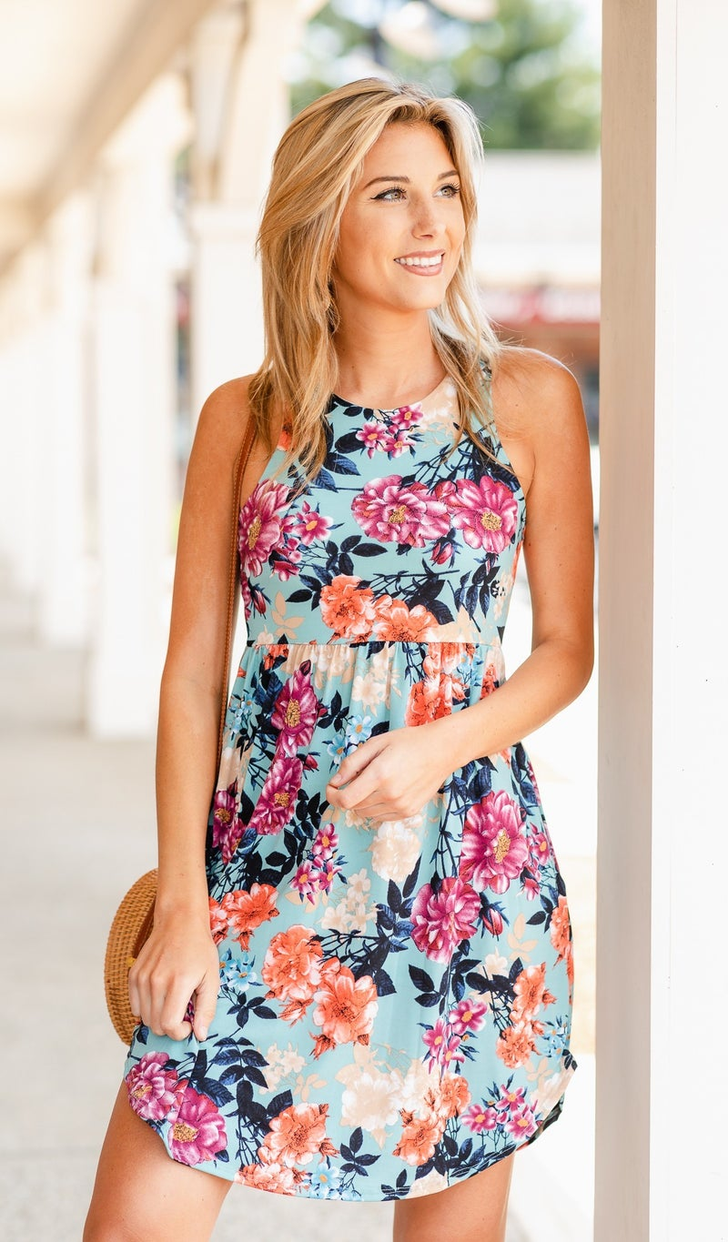 Believe Me Dress, Mixed Floral Print
