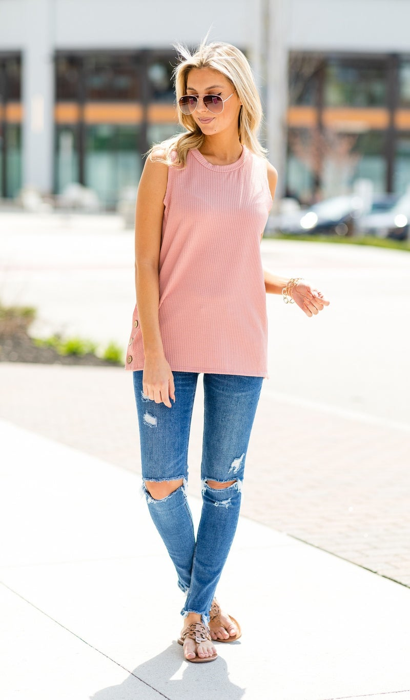 Play It Cool Tank, Ivory or Pink