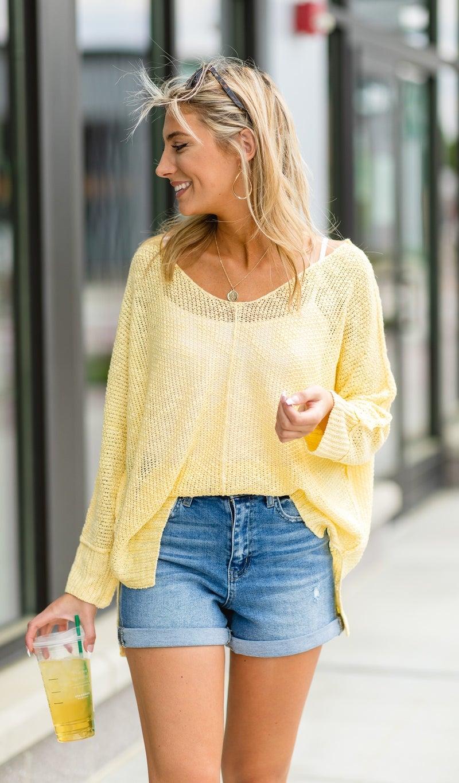 Feels Like Summer Slouchy Sweater, Yellow