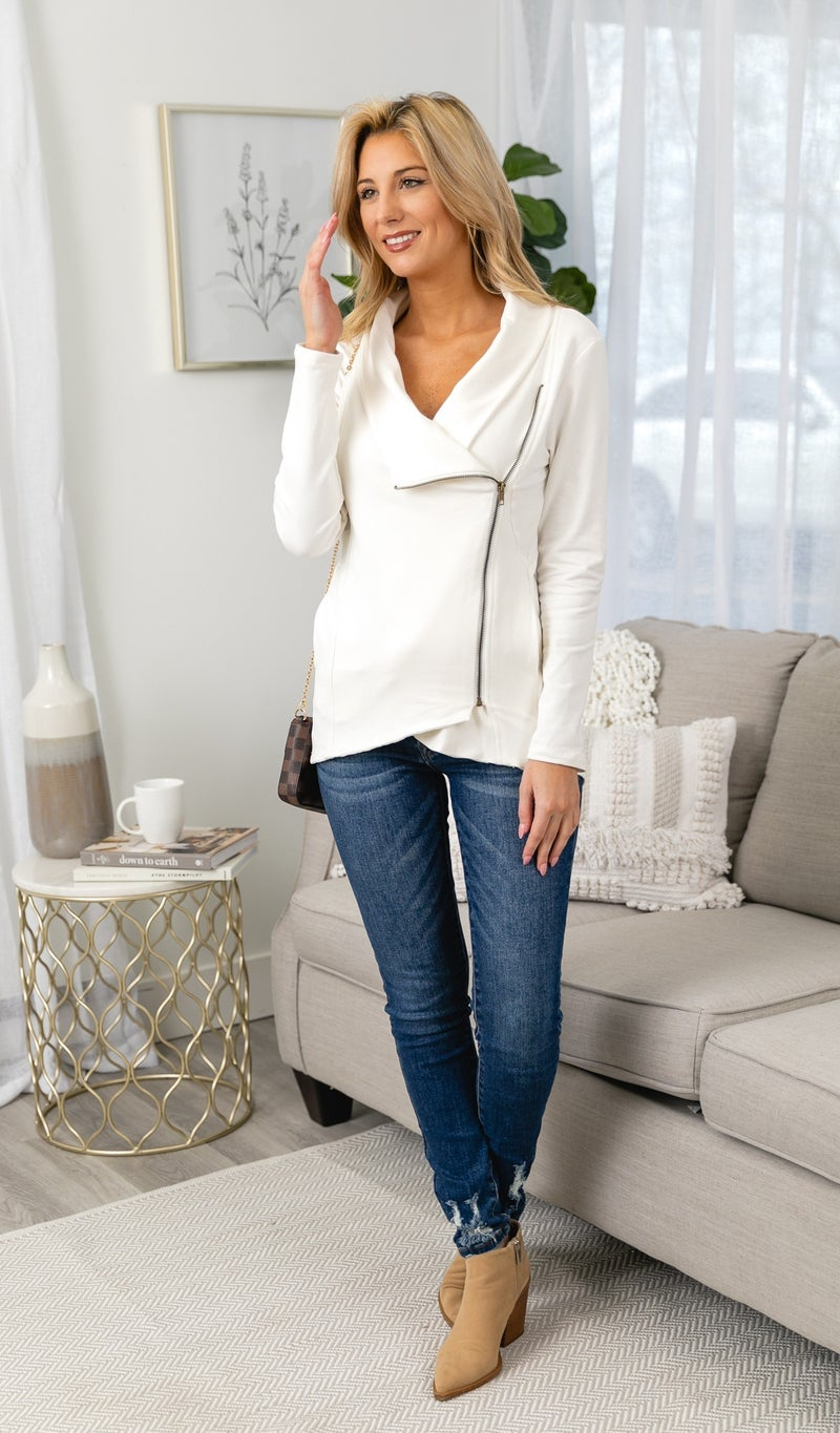 The Calista Zip Up, White