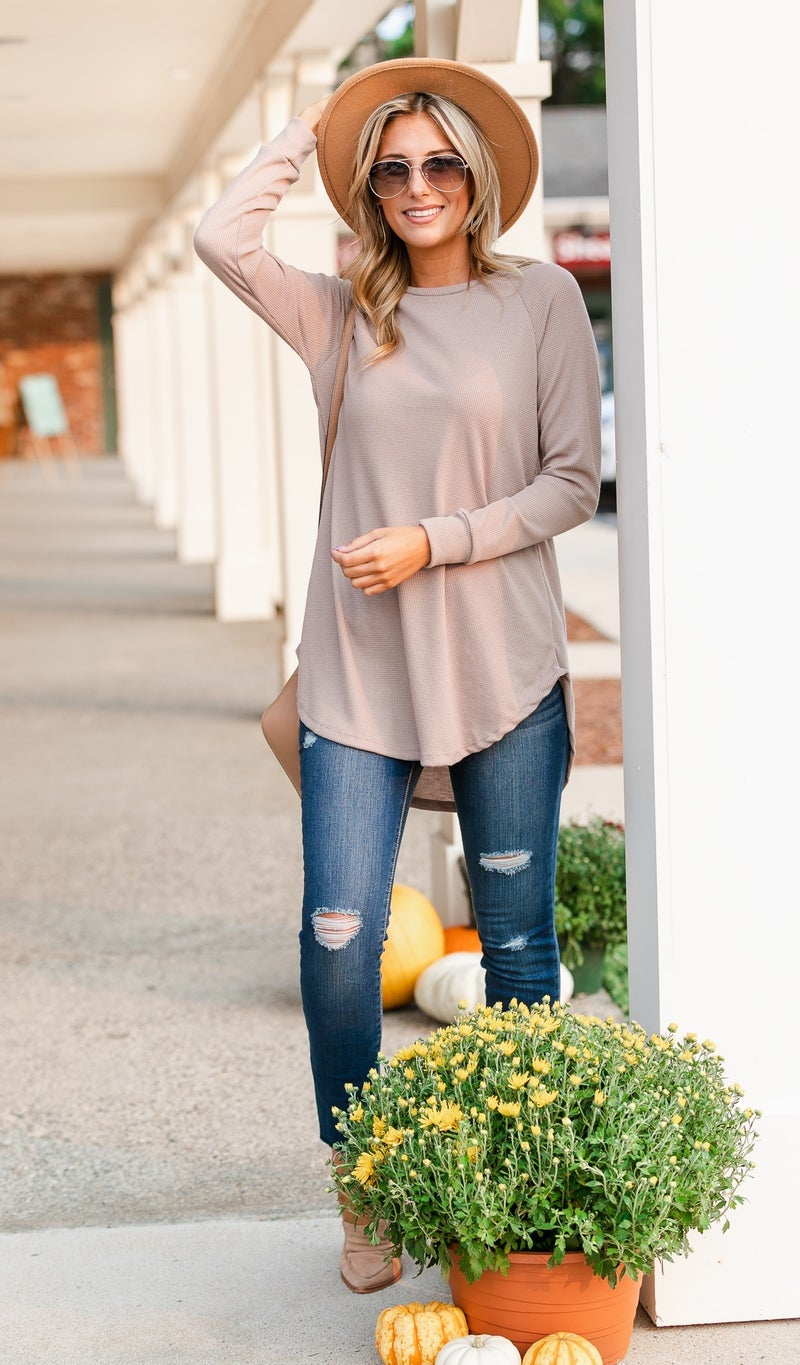 Must Have Layering Waffle Tunic, Taupe or Burgundy