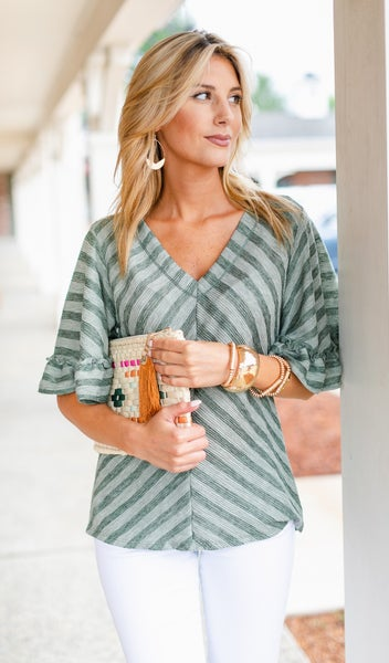 Shore Thing Top, Sage or White