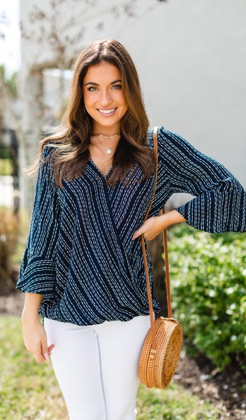 The Island Blouse, Navy