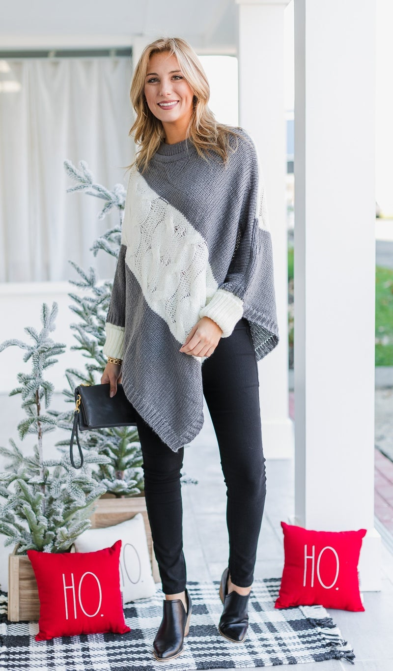 Better Than the Rest Poncho in Grey