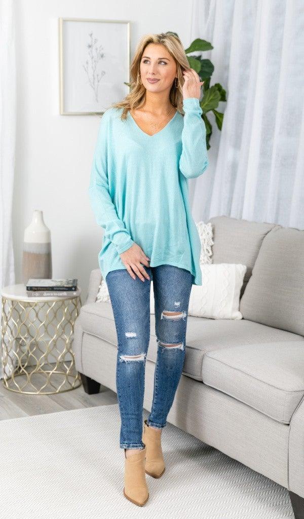 The Charlie Boyfriend Sweater, Sky Blue