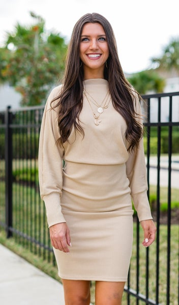 The Hailee Ribbed Knit Dress, Beige