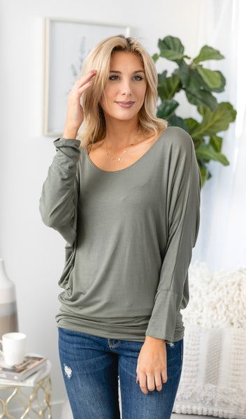 The One You Need Dolman Top, Olive