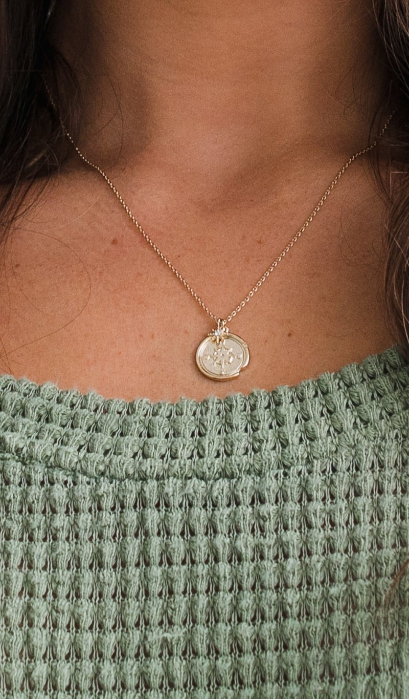 Compass Coin Necklace, Silver or Gold