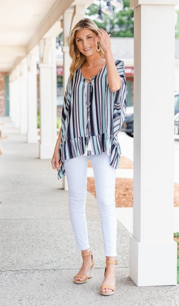 Sail Away Caftan Top, Blue Multi Stripe