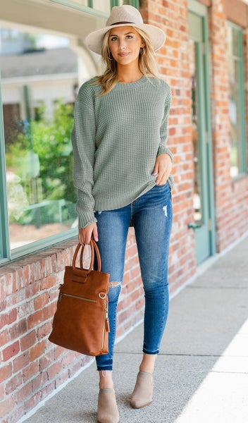 Cozied Up Waffle Knit Sweater, Sage