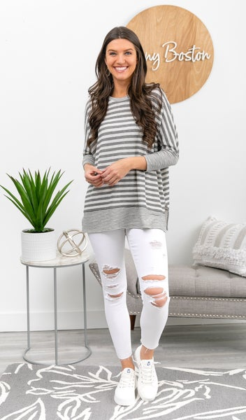 In Good Cheers Tunic, Grey Stripe *Final Sale*