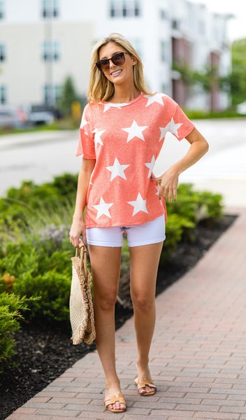 I'm A Star Print Tee, Coral