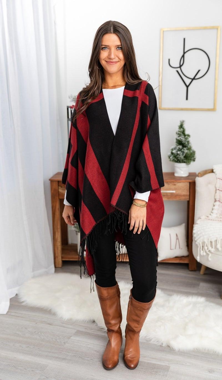 Renee Knit Wrap, Black/Wine
