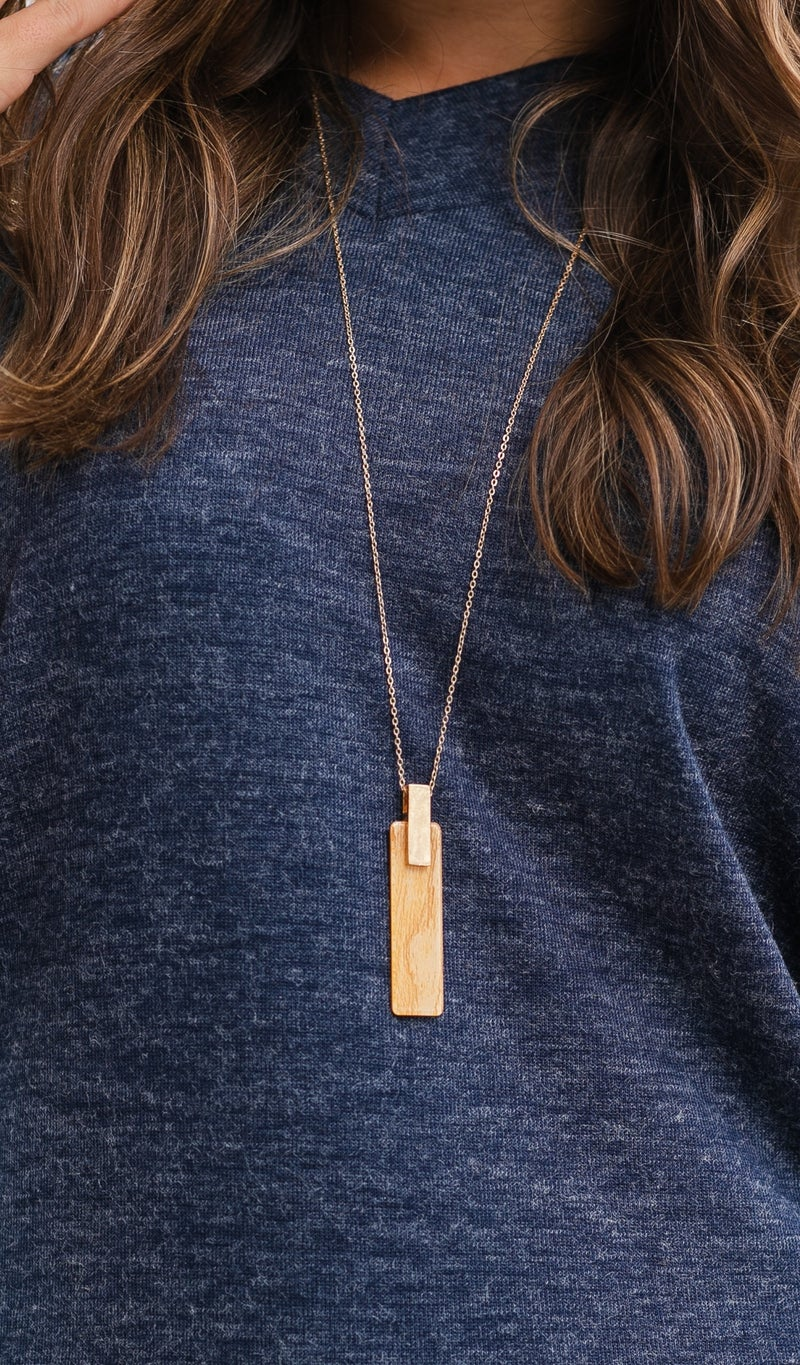 Like Me Necklace, Gold Light Wood