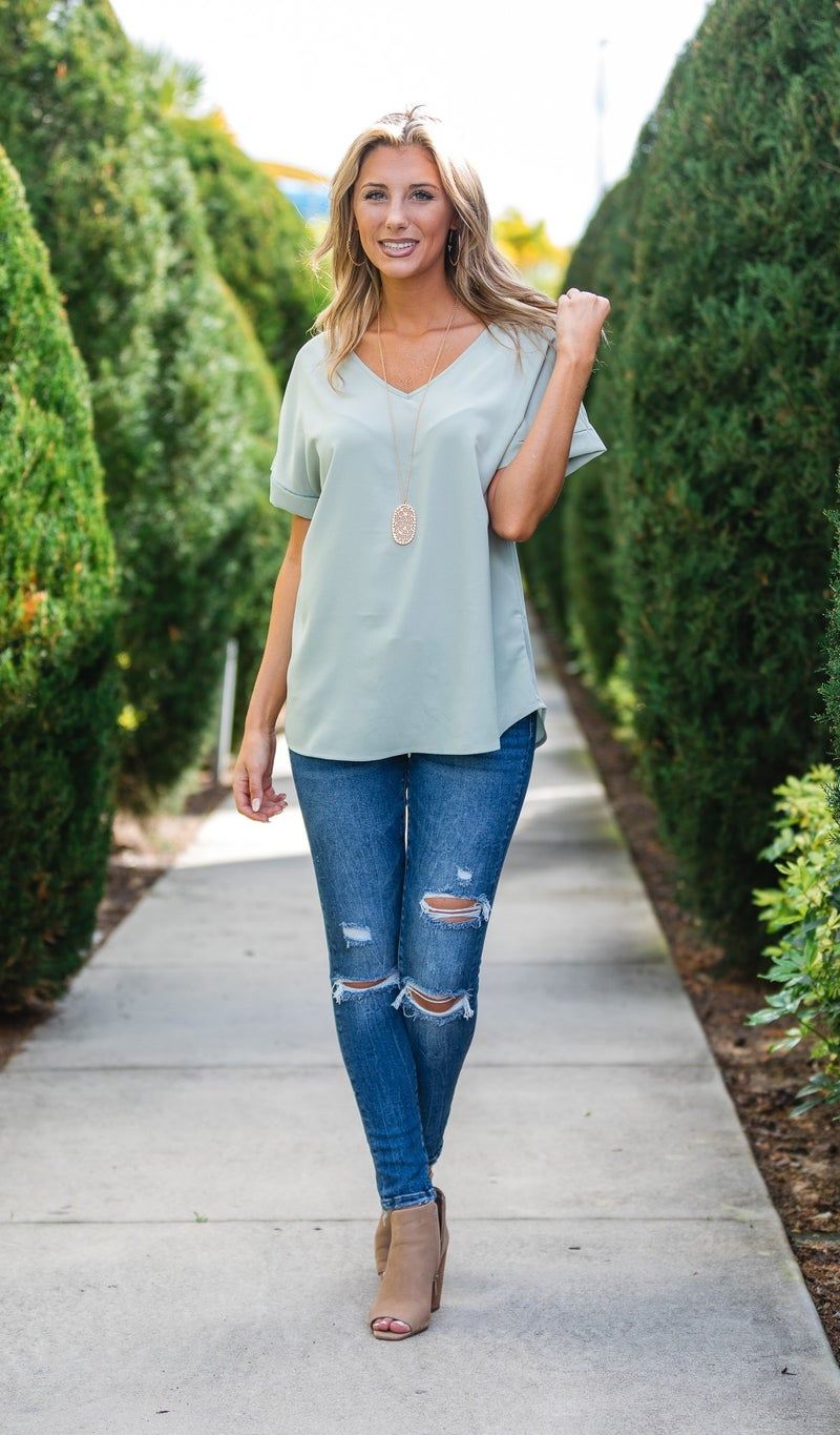 Call This Classic Top, Sage or Pink