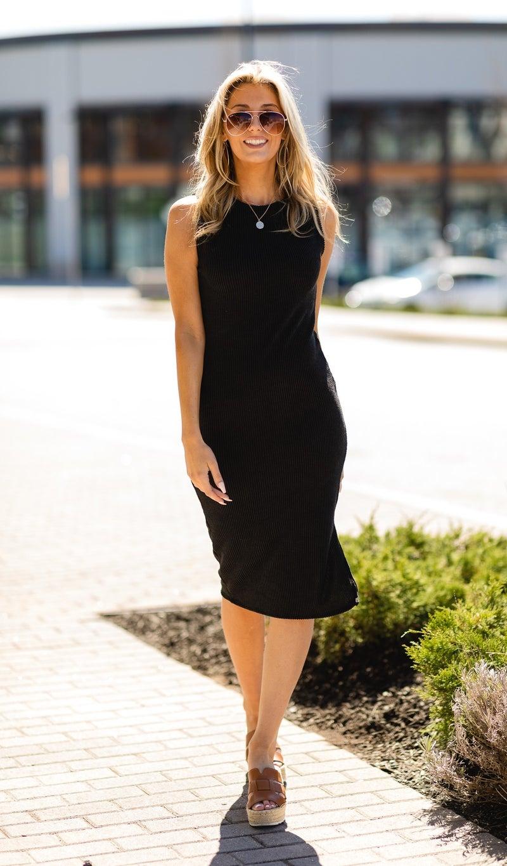 Close Ribbed Dress, Black