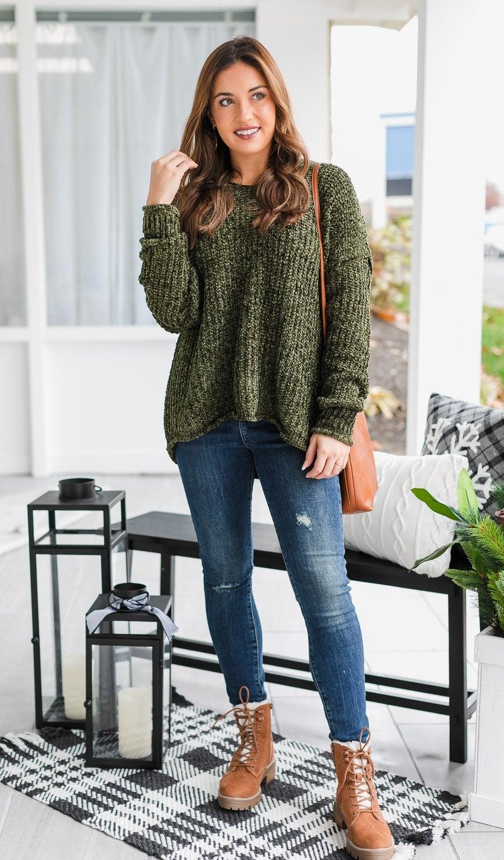 The Elina Sweater, Olive