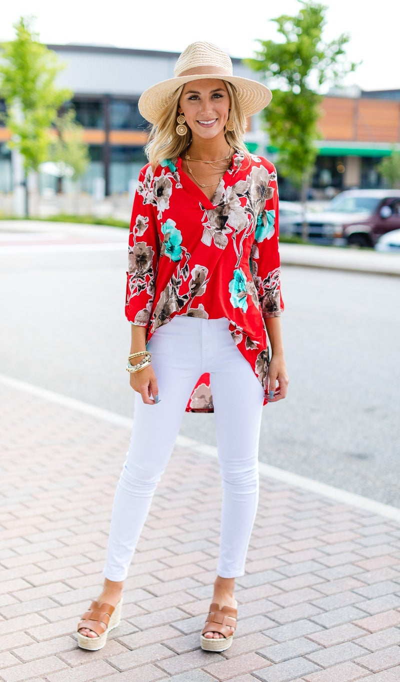 Perfect Print Piece Top, Red