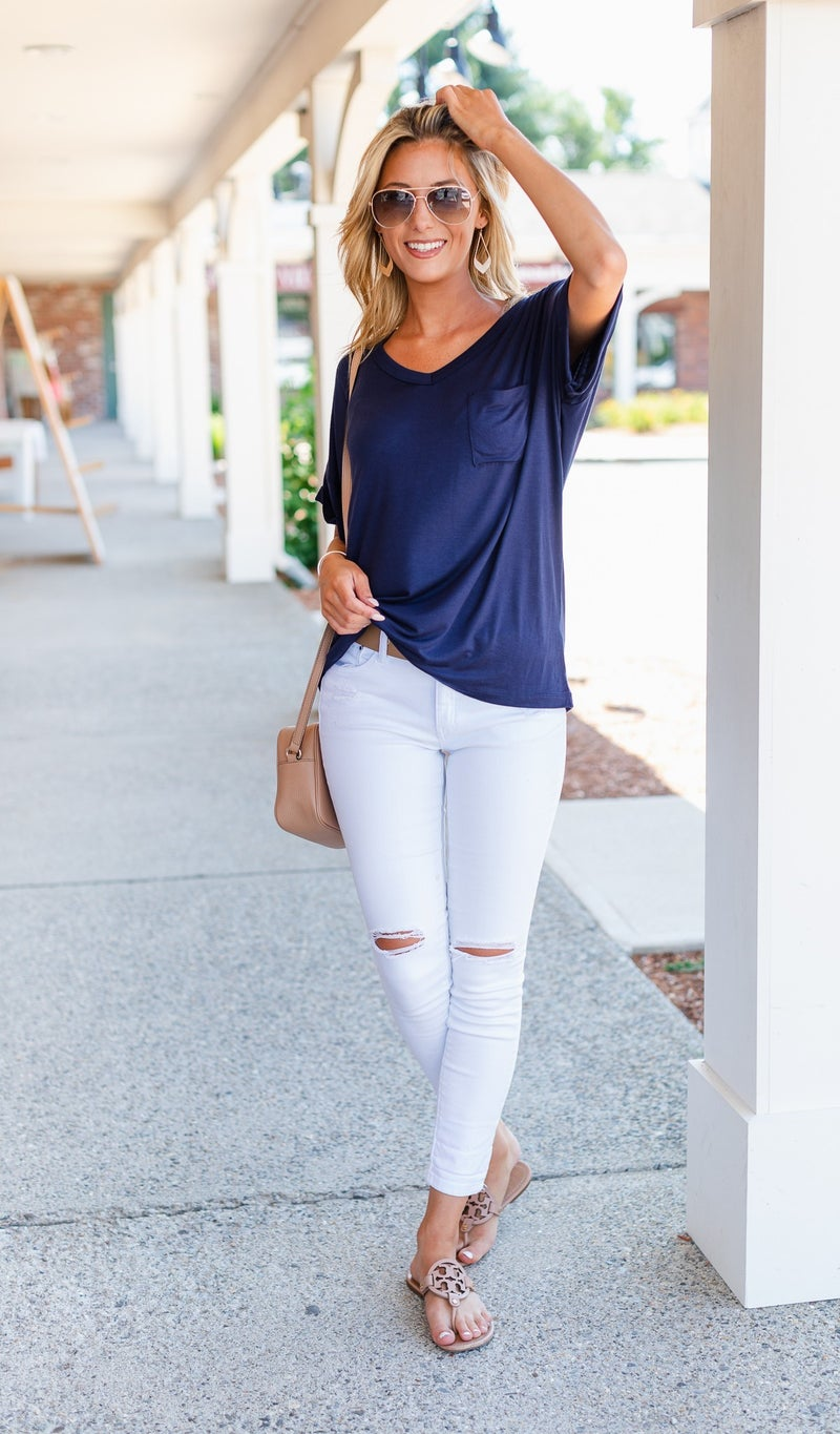 The Lizzy Top, Navy or Sage