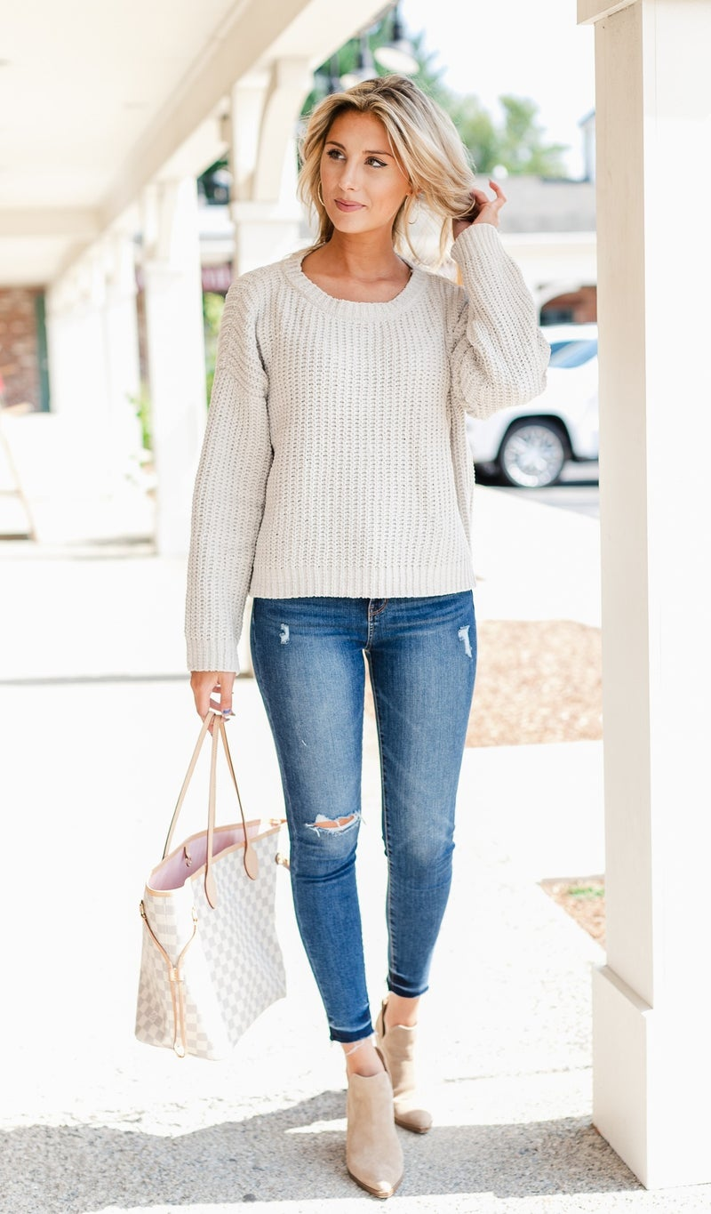Falling For Knit Sweater,Taupe