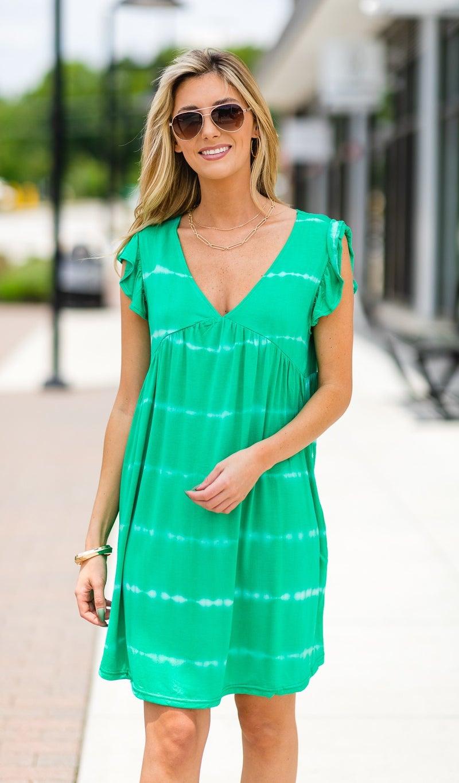 Tasha Tie-Dye Dress, Green