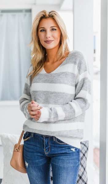 Wish On A Star Sweater, Grey & Ivory