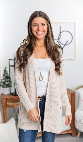 Home For The Holidays Knit Cardigan, Blush or Oatmeal