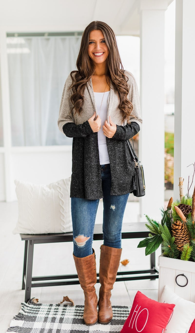 The Hailey Cardigan, Taupe/Black Color Block