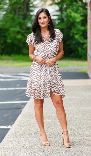 Easy Print Dress, Brown/Ivory