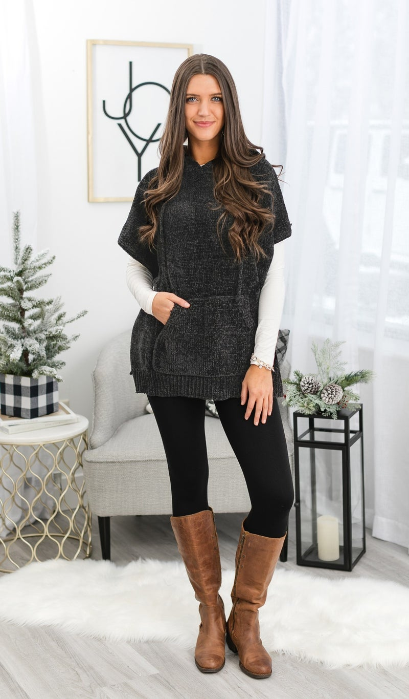Chenille Love Top, Charcoal