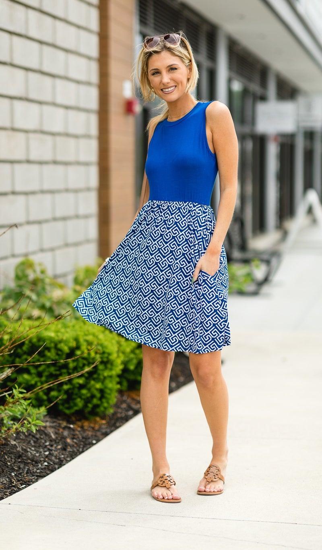 Let's Do This Dress, Blue & White