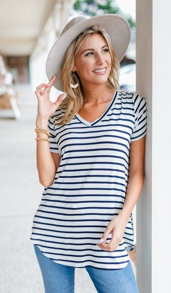 So Many Moments Top, Navy Striped