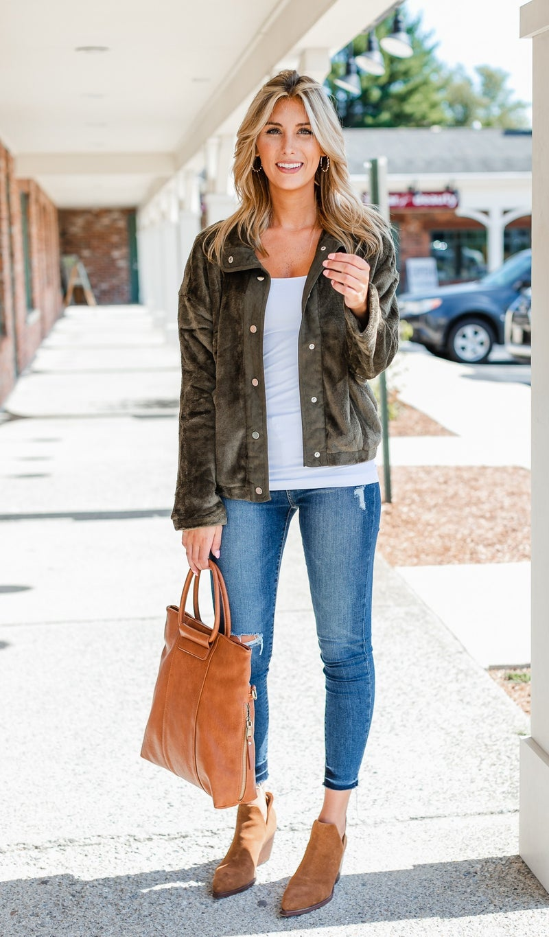 Easy Snap Faux Sherpa Jacket, Olive