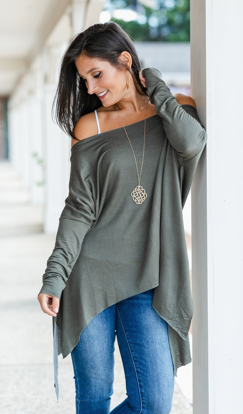 Shrug It Off Top/Tunic, Charcoal Olive