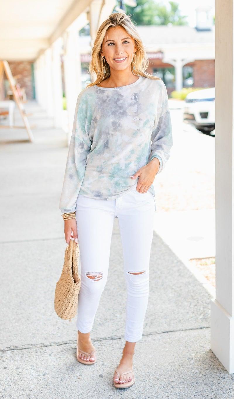 Cool Breeze Tie Dye Top, Aqua Or Brown