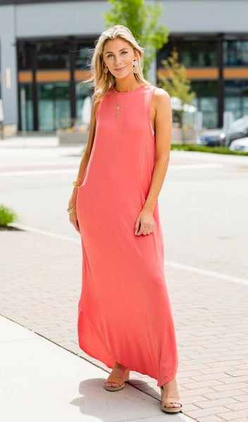 The Bethany Dress, Multiple Colors - CORAL