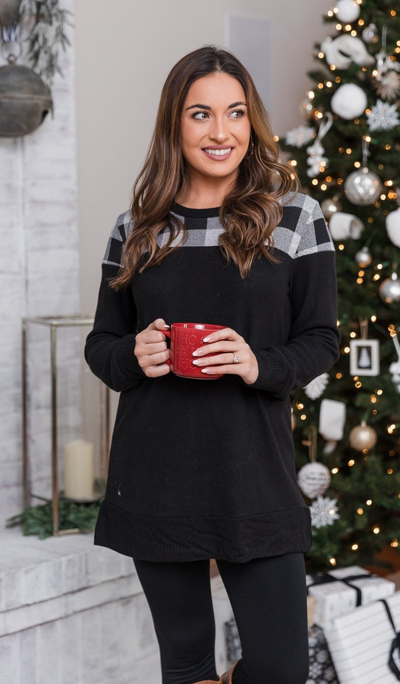 Holidays Are Here Tunic, Grey/ Black