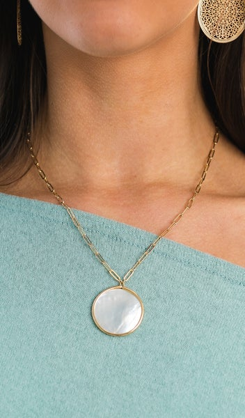 Mother of Pearl Necklace, Silver or Gold